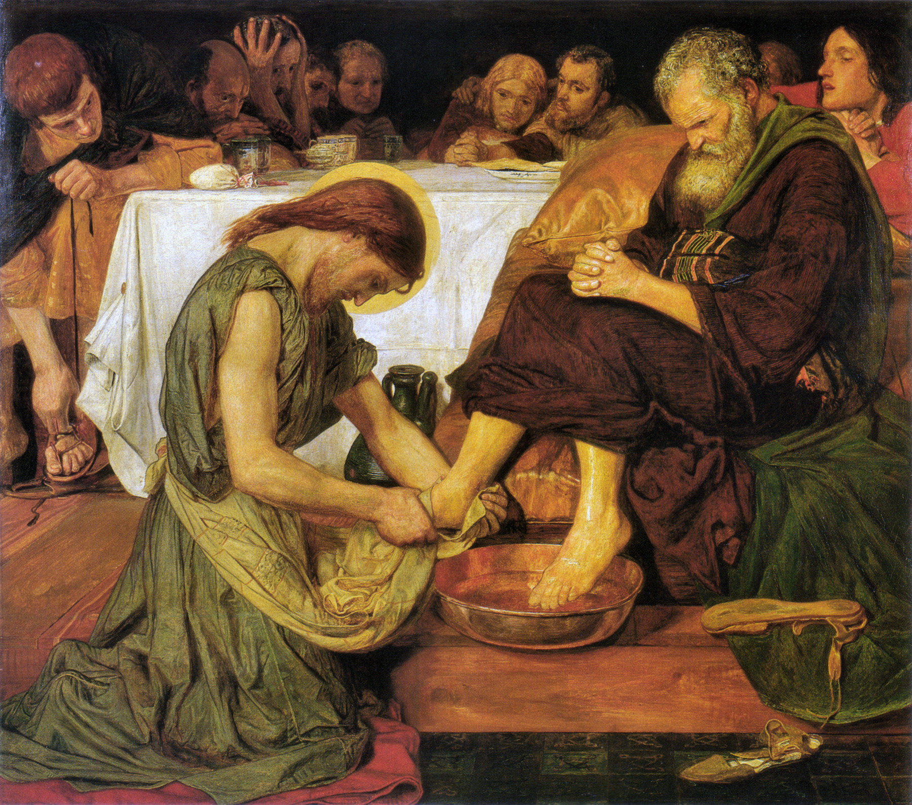 Pirtle Holy Week Art Brown_Jesus Washes Peters Feet
